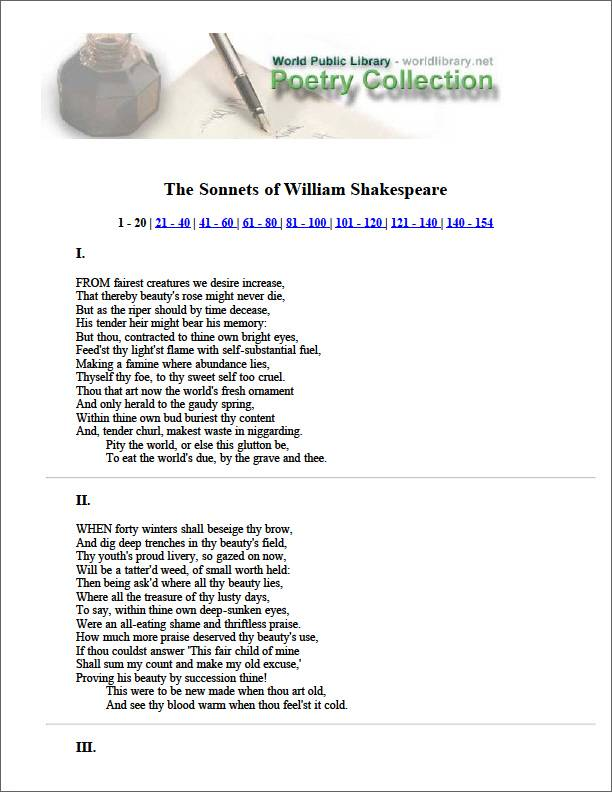 The Sonnets of William Shakespeare by Shakespeare, William