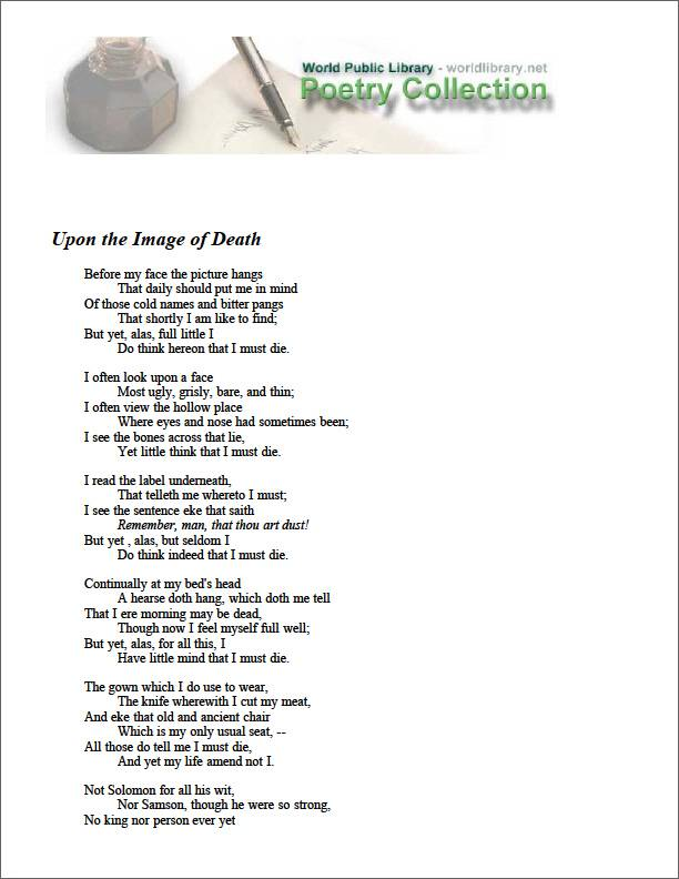 Upon the Image of Death by Southwell, Robert, Saint