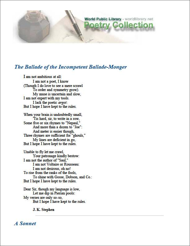 The Ballade of the Incompetent Ballade-M... by Stephen, J. K.