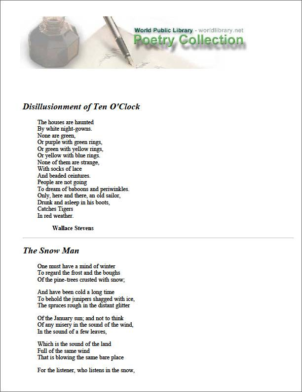 Disillusionment of Ten O'Clock by Stevens, Wallace