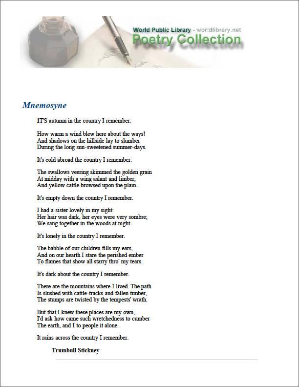 Mnemosyne by Stickney, Trumbull