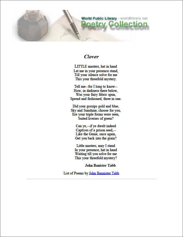 Clover by Tabb, John Banister