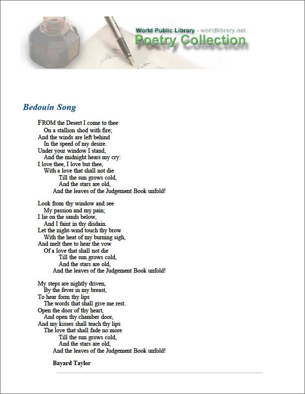 Bedouin Song by Taylor, Bayard