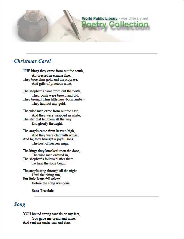 Christmas Carol by Teasdale, Sara