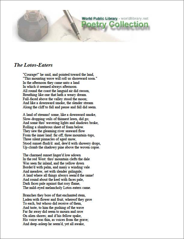 The Lotus-Eaters by Tennyson, Alfred Lord