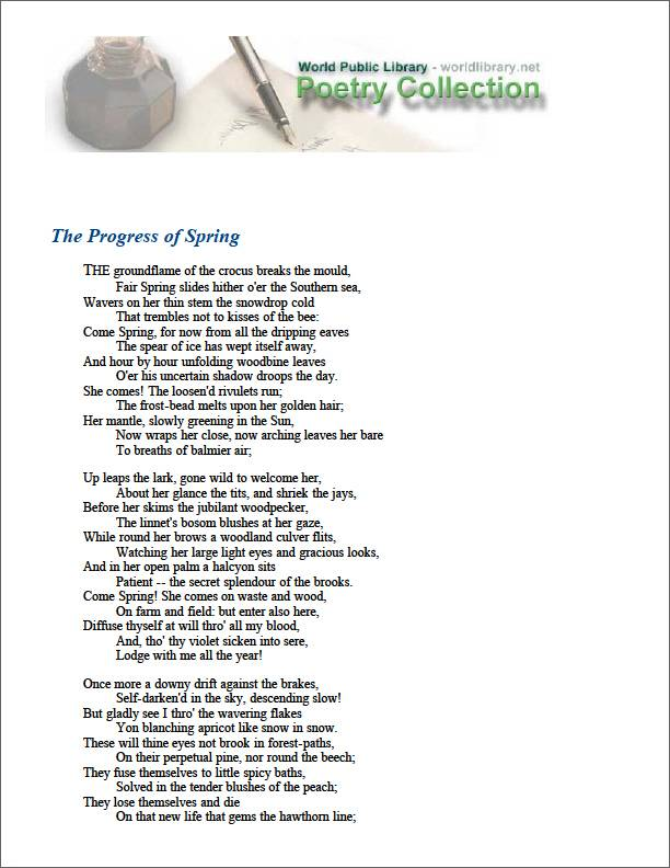 The Progress of Spring by Tennyson, Alfred Lord