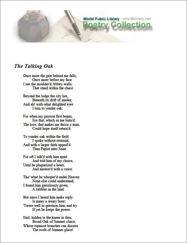 The Talking Oak by Tennyson, Alfred Lord