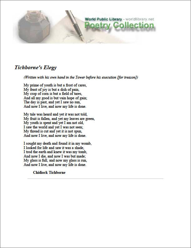 Tichborne's Elegy by Tichborne, Chidiock
