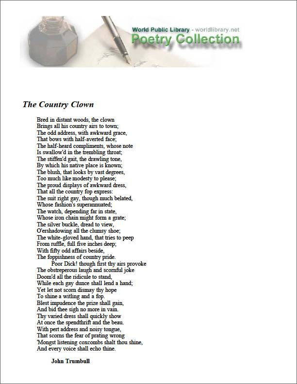 The Country Clown by Trumbull, John