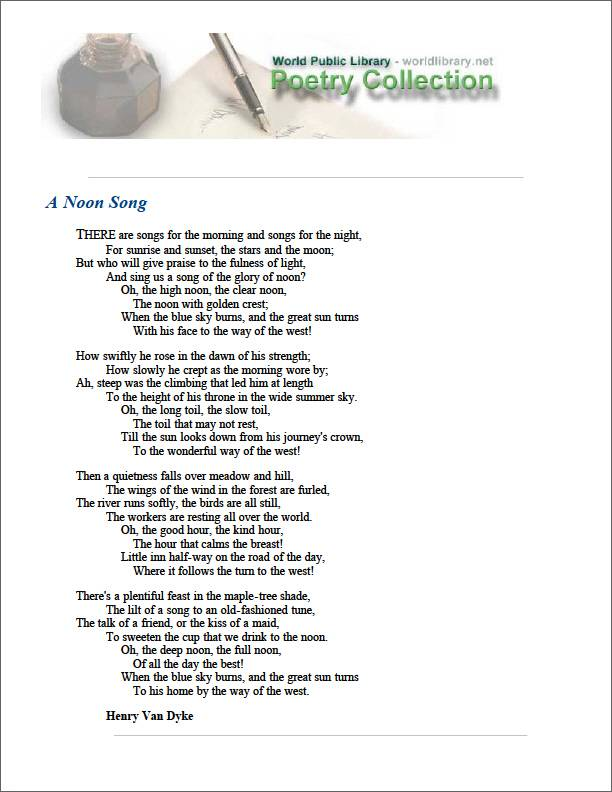 A Noon Song by Dyke, Henry Van