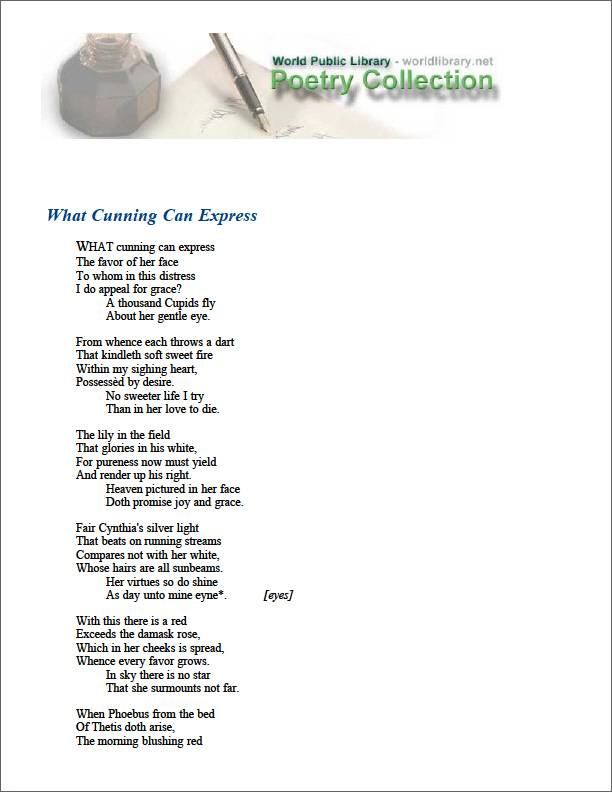 What Cunning Can Express by Edward De Vere, Earl of Oxford