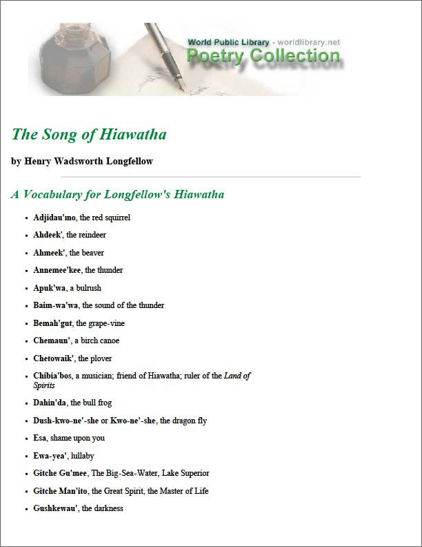 The Song of Hiawatha a Vocabulary for Lo... by Longfellow, Henry Wadsworth