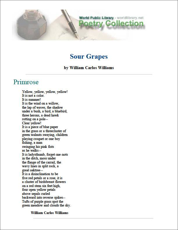Sour Grapes by Williams, William Carlos