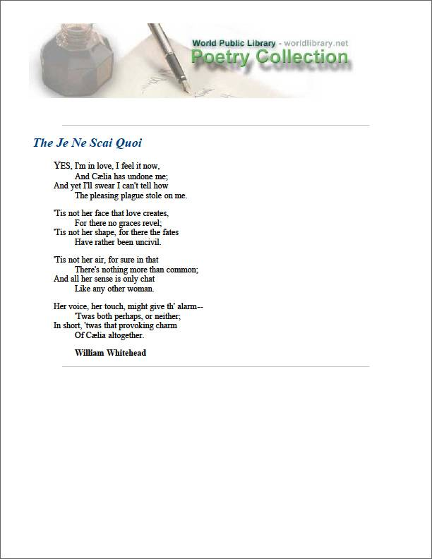 The Je Ne Scai Quoi by Whitehead, William