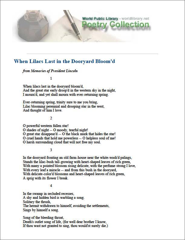 When Lilacs Last in the Dooryard Bloom'D by Whitman, Walt