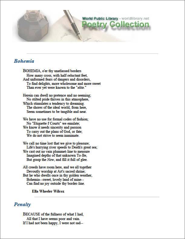 Bohemia by Wilcox, Ella Wheeler