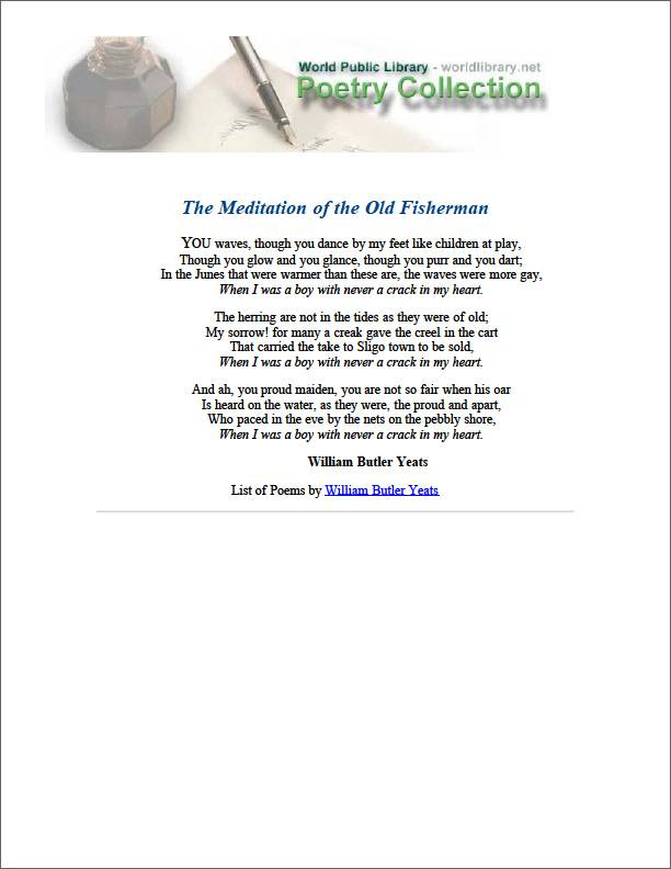 The Meditation of the Old Fisherman by Yeats, William Butler