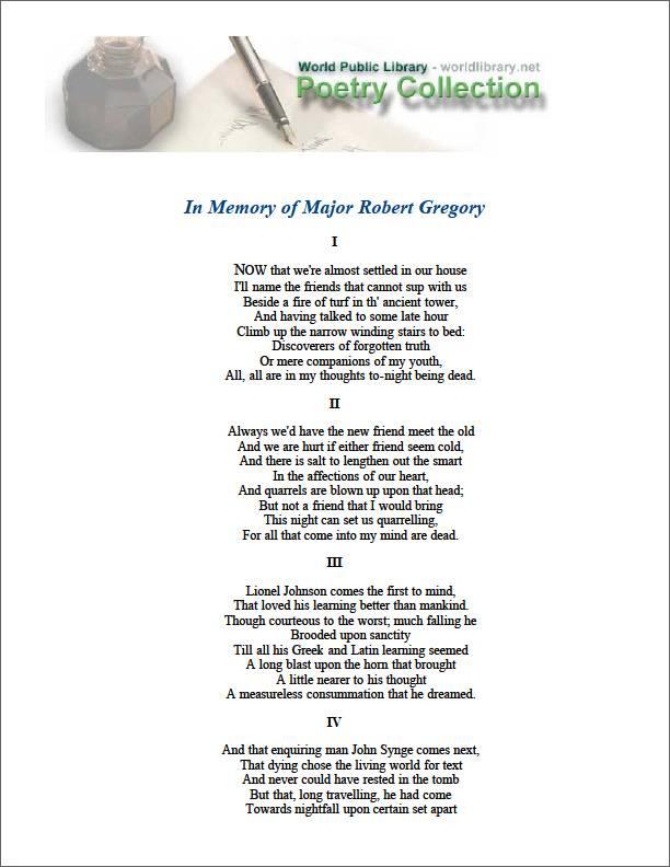 In Memory of Major Robert Gregory by Yeats, William Butler