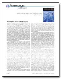 Perspectives Editorial the Right to Know... by Hook, Gary E. R.