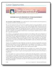 Senior Faculty Position in Toxicogenomic... by United Nations