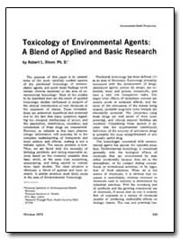 Toxicology of Environmental Agents : A B... by Robert L. Dixon, Ph. D.