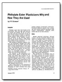 Phthalate Ester Plasticizers-Wh Y and Ho... by Graham, P. R.