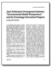 Joint Publication Arrangement between En... by Kissman, Henry M.