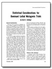 Statistical Co Siderations for Dominant ... by Salsburg, David S.