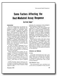 Some Factors Affecting the Host-Mediated... by Zeiger, Errol