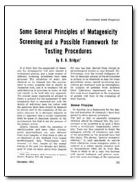 Some General Principles of Mutagenicity ... by Bridges, B. A.