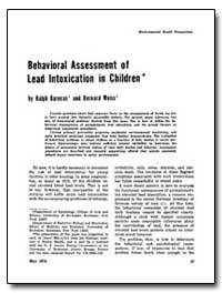 Behavioral Assessment of Lead Intoxicati... by Barocast, Ralph