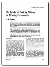 The Uptake of Lead by Children in Differ... by Alexander, F. W.