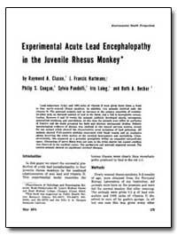 Experimental Acute Lead Encephalopathy i... by Clasen, Raymond A.