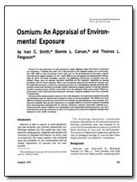 Osmium : An Appraisal of Environmental E... by Smith, Ivan C.