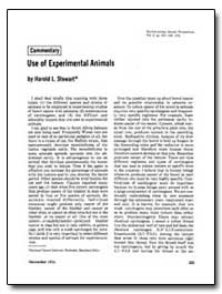 Use of Experimental Animals by Stewart, Harold L.