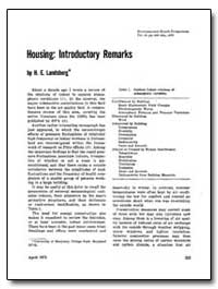 Housing : Introductory Remarks by Landsberg, H. E.