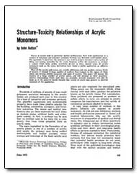 Structure-Toxicity Relationships of Acry... by Autian, John