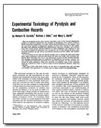 Experimental Toxicology of Pyrolysis and... by Hahn, Kolman J.