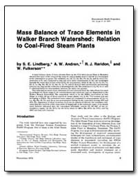 Mass Balance of Trace Elements in Walker... by Lindberg, S. E.