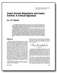 Insect Growth Regulators and Insect Cont... by Siddall, J. B.
