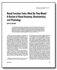 Renal Function Tests : What Do They Mean... by Berndt, W. O.
