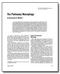 The Pulmonary Macrophage by Bowden, Drummond H.