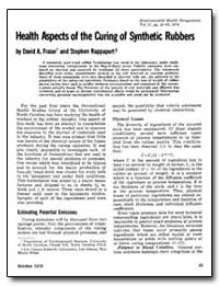 Health Aspects of the Curing of Syntheti... by Fraser, David A.