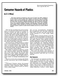 Consumer Hazards of Plastics by Wiberg, G. S.