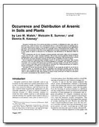 Occurrence and Distribution of Arsenic i... by Walsh, Leo M.