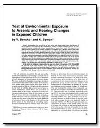 Test of Environmental Exposure to Arseni... by Bencko, V.