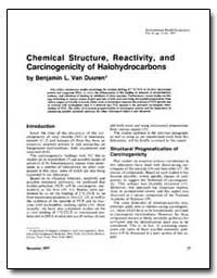 Chemical Structure, Reactivity, And Carc... by Van Duuren, Benjamin L.