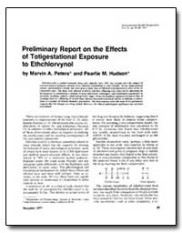 Preliminary Report on the Effects of Tot... by Peters, Marvin A.
