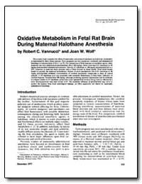 Oxidative Metabolism in Fetal Rat Brain ... by Wolf, Joan W.