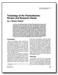 Toxicology of the Fluoroalkenes : Review... by Clayton, J. Wesley